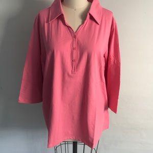 Denim & Co 3/4 Sleeve Knit Polo Shirt